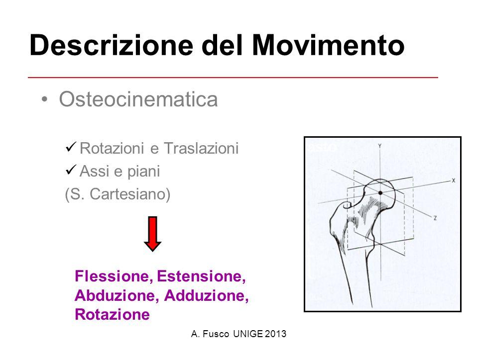 A. Fusco UNIGE 2013 Descrizione del Movimento Osteocinematica Rotazioni e Traslazioni Assi e piani (S. Cartesiano) Flessione, Estensione, Abduzione, A