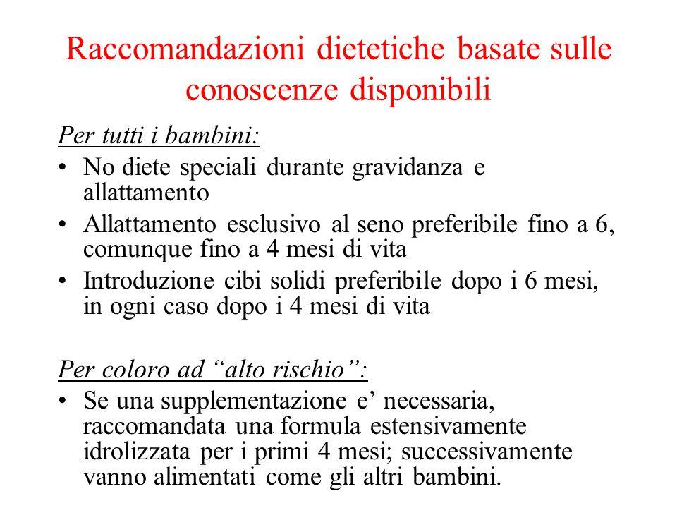 Raccomandazioni dietetiche basate sulle conoscenze disponibili Per tutti i bambini: No diete speciali durante gravidanza e allattamento Allattamento e