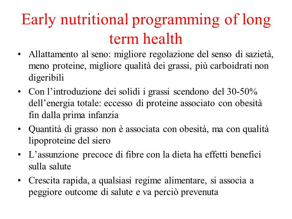 Early nutritional programming of long term health Allattamento al seno: migliore regolazione del senso di sazietà, meno proteine, migliore qualità dei