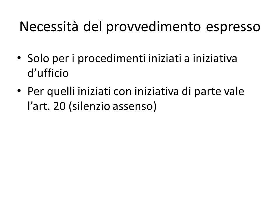 Necessità del provvedimento espresso Solo per i procedimenti iniziati a iniziativa d'ufficio Per quelli iniziati con iniziativa di parte vale l'art.