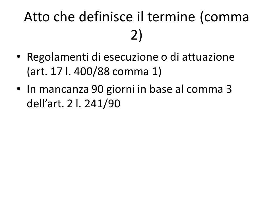 Atto che definisce il termine (comma 2) Regolamenti di esecuzione o di attuazione (art.