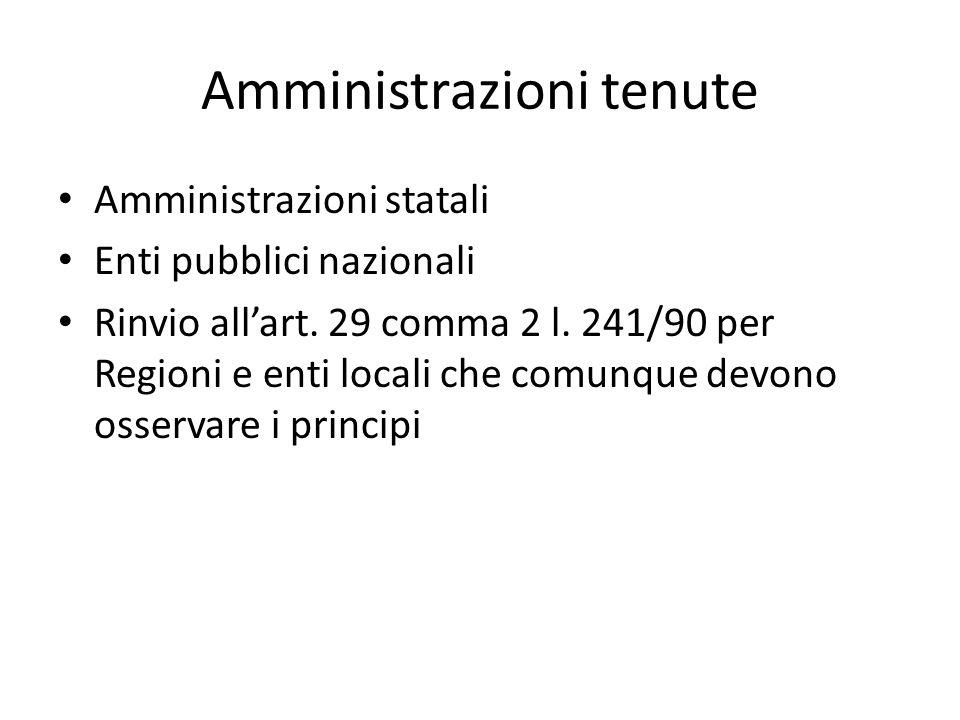 Amministrazioni tenute Amministrazioni statali Enti pubblici nazionali Rinvio all'art.