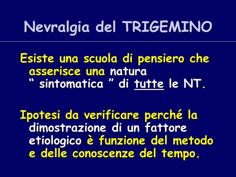 """Nevralgia del TRIGEMINO Esiste una scuola di pensiero che asserisce una natura """" sintomatica """" di tutte le NT. Ipotesi da verificare perché la dimostr"""