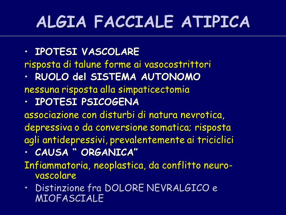 ALGIA FACCIALE ATIPICA IPOTESI VASCOLAREIPOTESI VASCOLARE risposta di talune forme ai vasocostrittori RUOLO del SISTEMA AUTONOMORUOLO del SISTEMA AUTO
