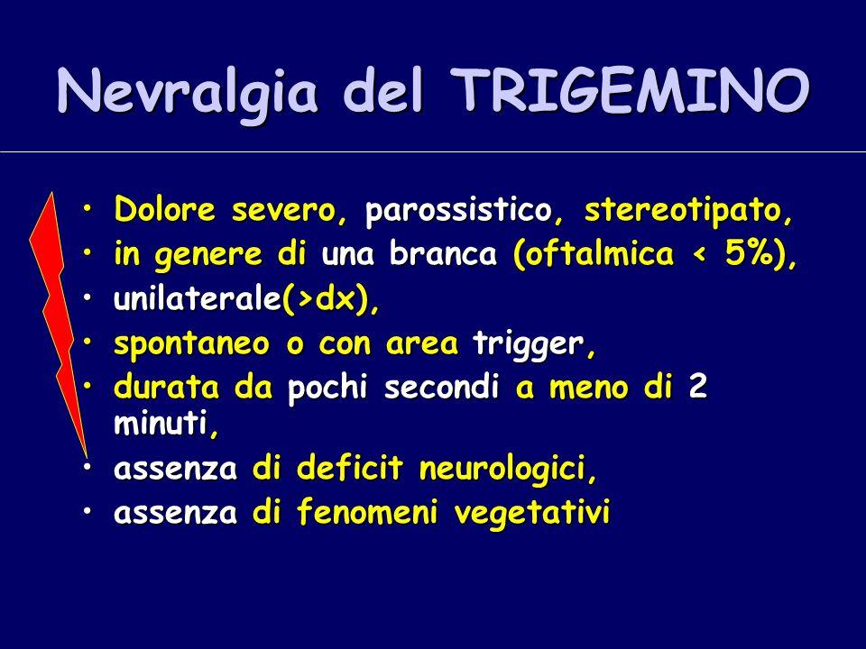 Nevralgia del TRIGEMINO Dolore severo, parossistico, stereotipato,Dolore severo, parossistico, stereotipato, in genere di una branca (oftalmica < 5%),