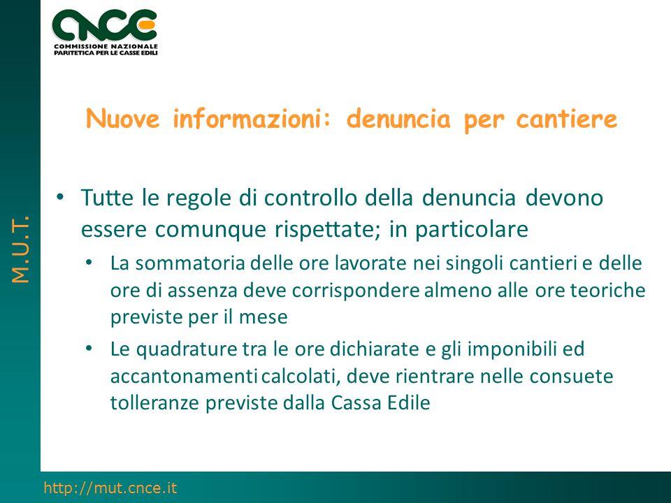 M.U.T. http://mut.cnce.it Nuove informazioni: denuncia per cantiere Tutte le regole di controllo della denuncia devono essere comunque rispettate; in