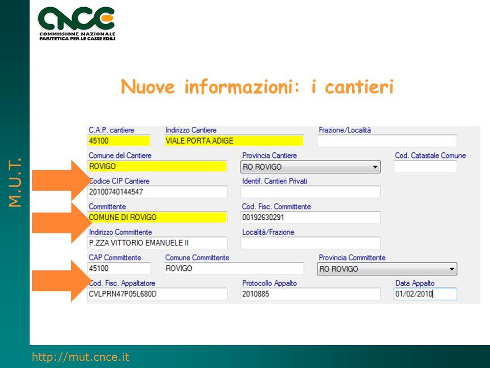 M.U.T. http://mut.cnce.it Nuove informazioni: i cantieri