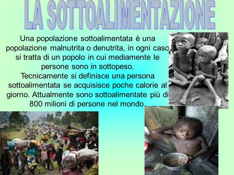 Una popolazione sottoalimentata è una popolazione malnutrita o denutrita, in ogni caso si tratta di un popolo in cui mediamente le persone sono in sot