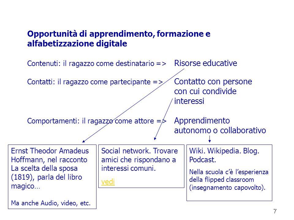 7 Opportunità di apprendimento, formazione e alfabetizzazione digitale Contenuti: il ragazzo come destinatario => Risorse educative Contatti: il ragaz