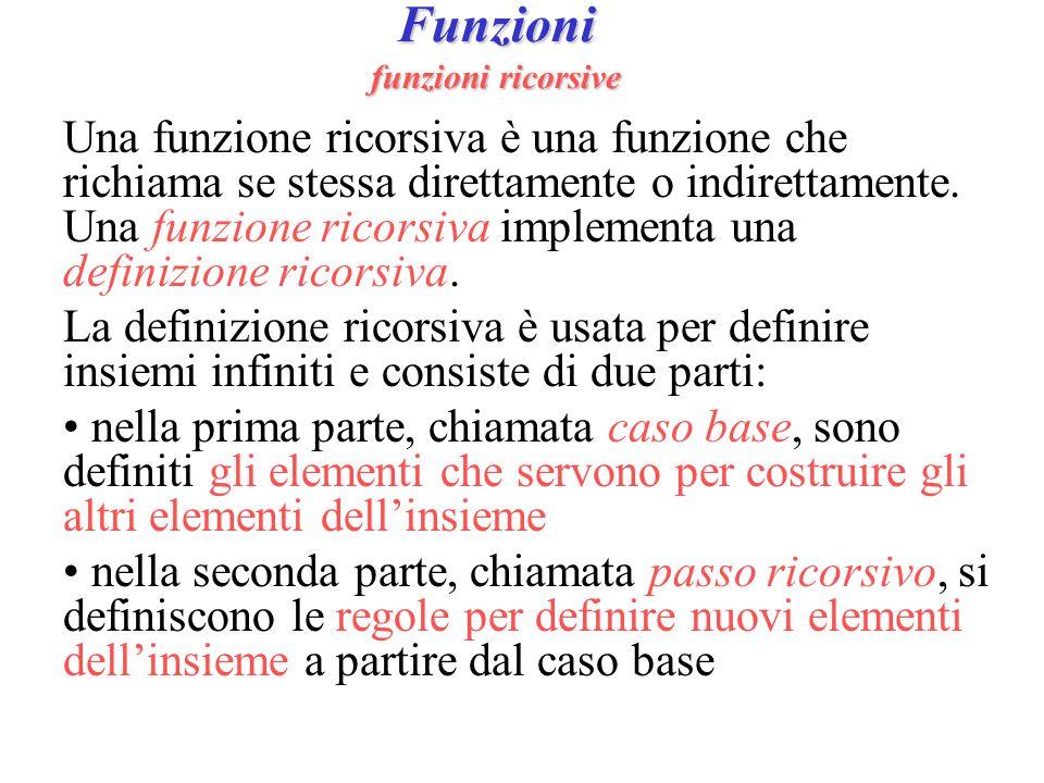 Funzioni funzioni ricorsive Una funzione ricorsiva è una funzione che richiama se stessa direttamente o indirettamente. Una funzione ricorsiva impleme