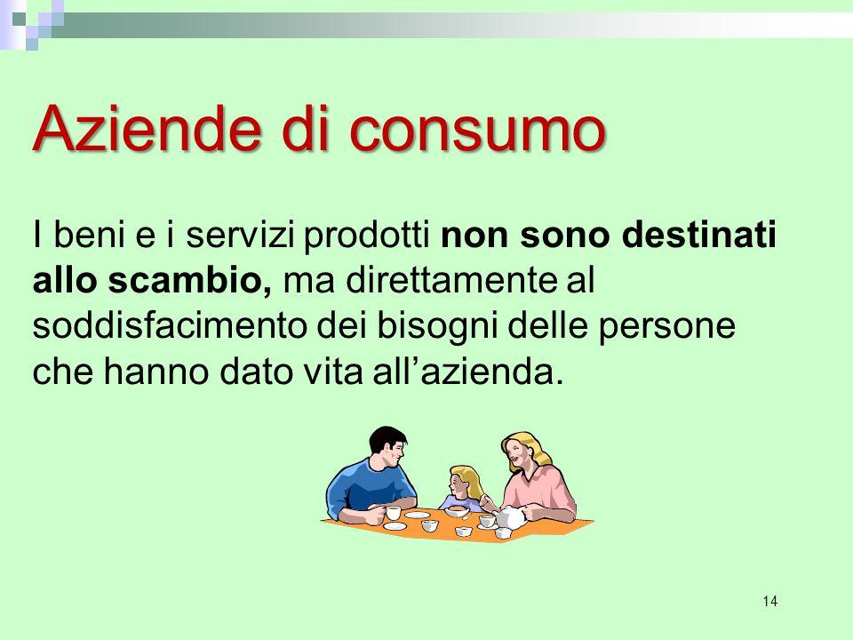 14 Aziende di consumo I beni e i servizi prodotti non sono destinati allo scambio, ma direttamente al soddisfacimento dei bisogni delle persone che hanno dato vita all'azienda.
