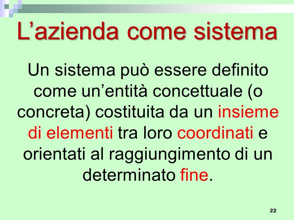 22 Un sistema può essere definito come un'entità concettuale (o concreta) costituita da un insieme di elementi tra loro coordinati e orientati al raggiungimento di un determinato fine.