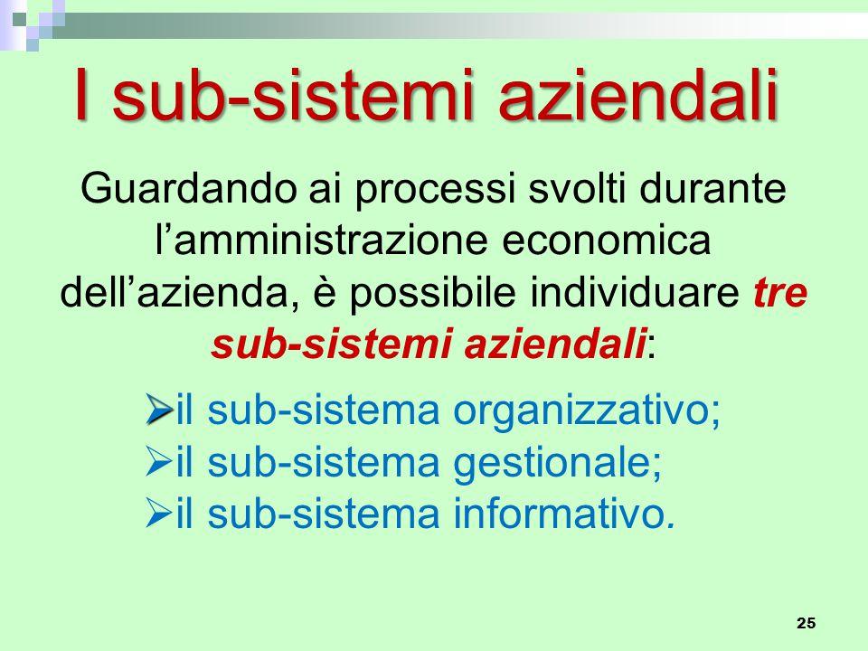 Guardando ai processi svolti durante l'amministrazione economica dell'azienda, è possibile individuare tre sub-sistemi aziendali:   il sub-sistema organizzativo;  il sub-sistema gestionale;  il sub-sistema informativo.