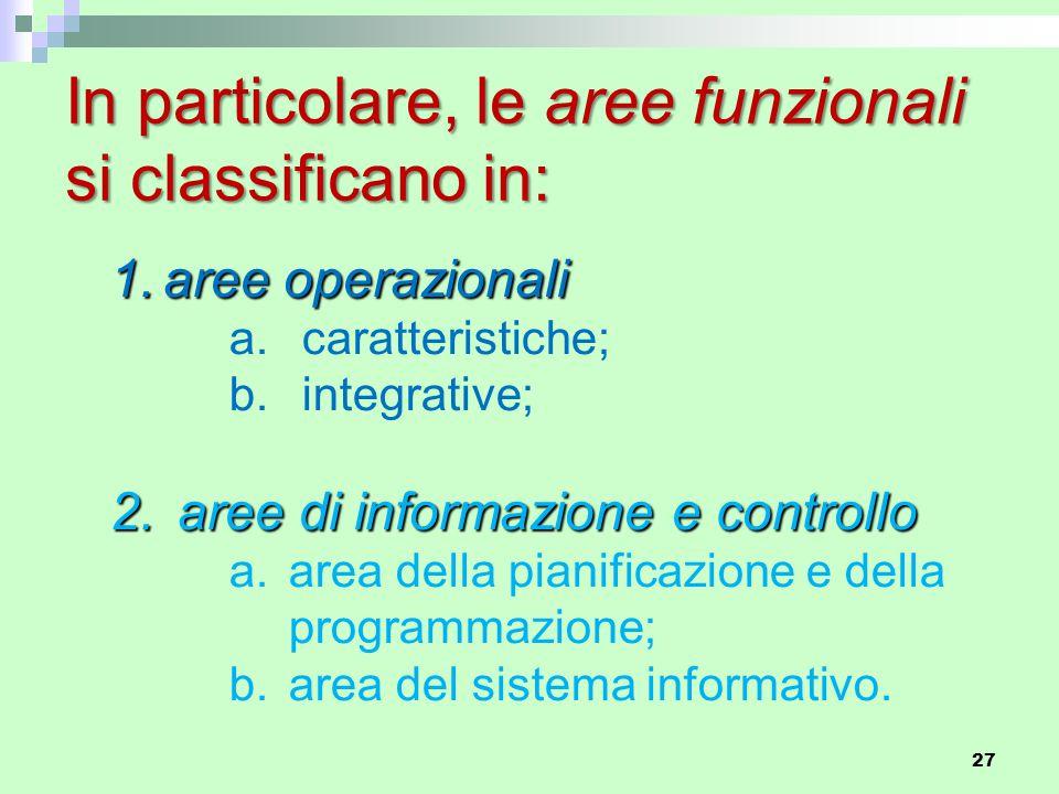 In particolare, le aree funzionali si classificano in: 1.aree operazionali a.