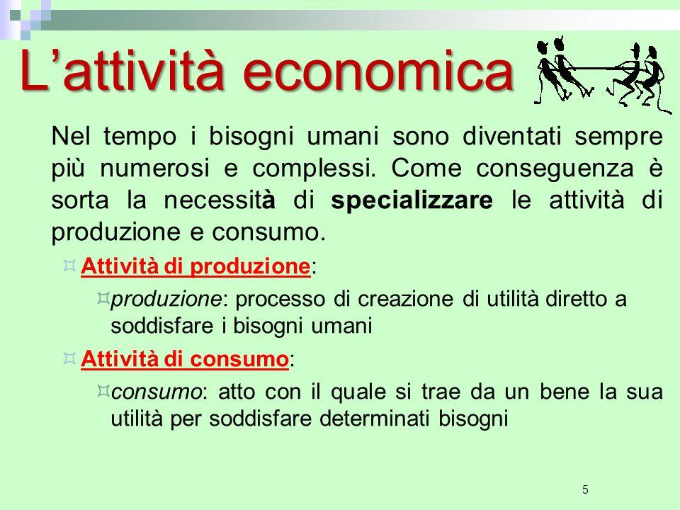 5 L'attività economica Nel tempo i bisogni umani sono diventati sempre più numerosi e complessi.