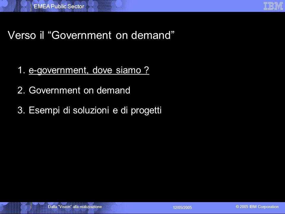 EMEA Public Sector © 2005 IBM Corporation Dalla Vision alla realizzazione 12/05/2005 Verso il Government on demand 1.e-government, dove siamo .