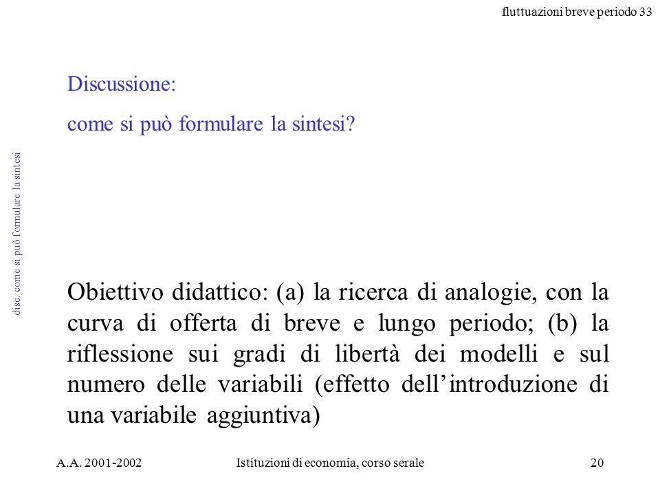 fluttuazioni breve periodo 33 A.A. 2001-2002Istituzioni di economia, corso serale20 disc.