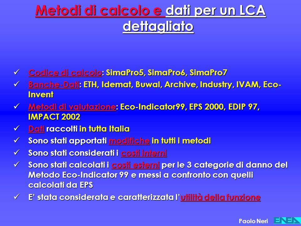 Metodi di calcolo e dati per un LCA dettagliato Codice di calcolo: SimaPro5, SimaPro6, SimaPro7 Codice di calcolo: SimaPro5, SimaPro6, SimaPro7 Banche