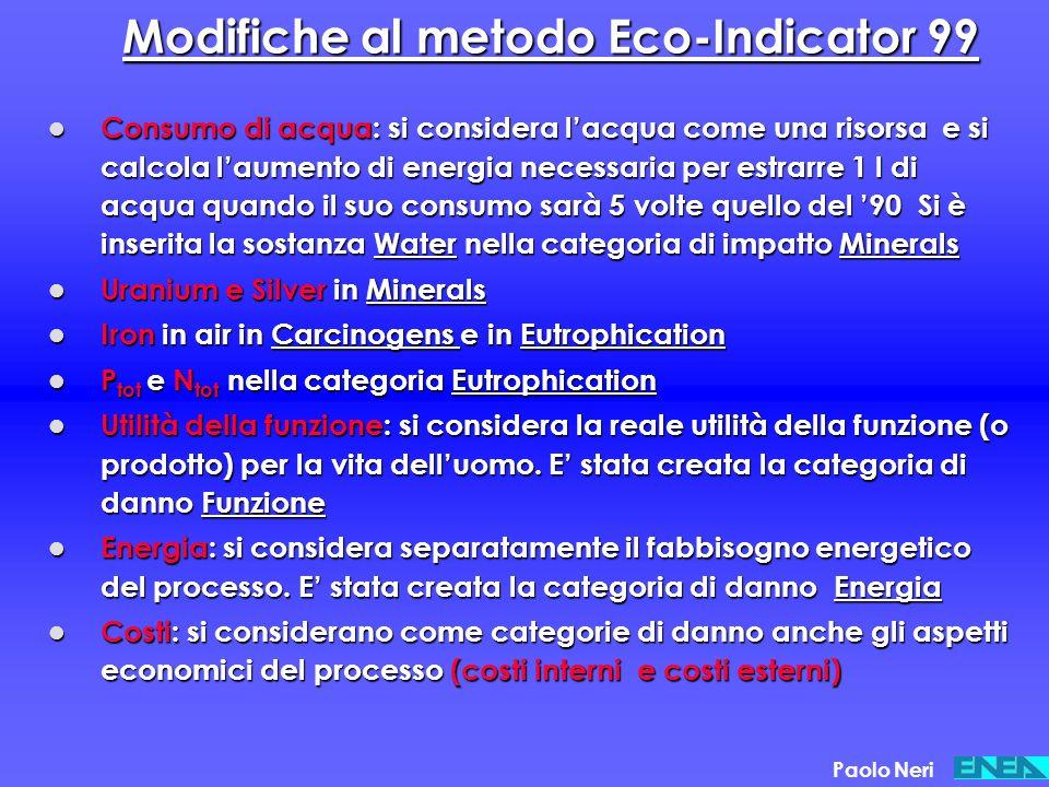Modifiche al metodo Eco-Indicator 99 Consumo di acqua: si considera l'acqua come una risorsa e si calcola l'aumento di energia necessaria per estrarre