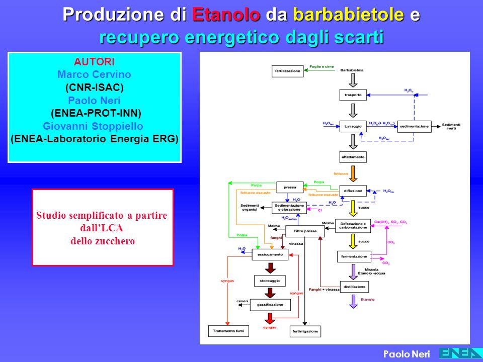 Produzione di Etanolo da barbabietole e recupero energetico dagli scarti AUTORI Marco Cervino (CNR-ISAC) Paolo Neri (ENEA-PROT-INN) Giovanni Stoppiell