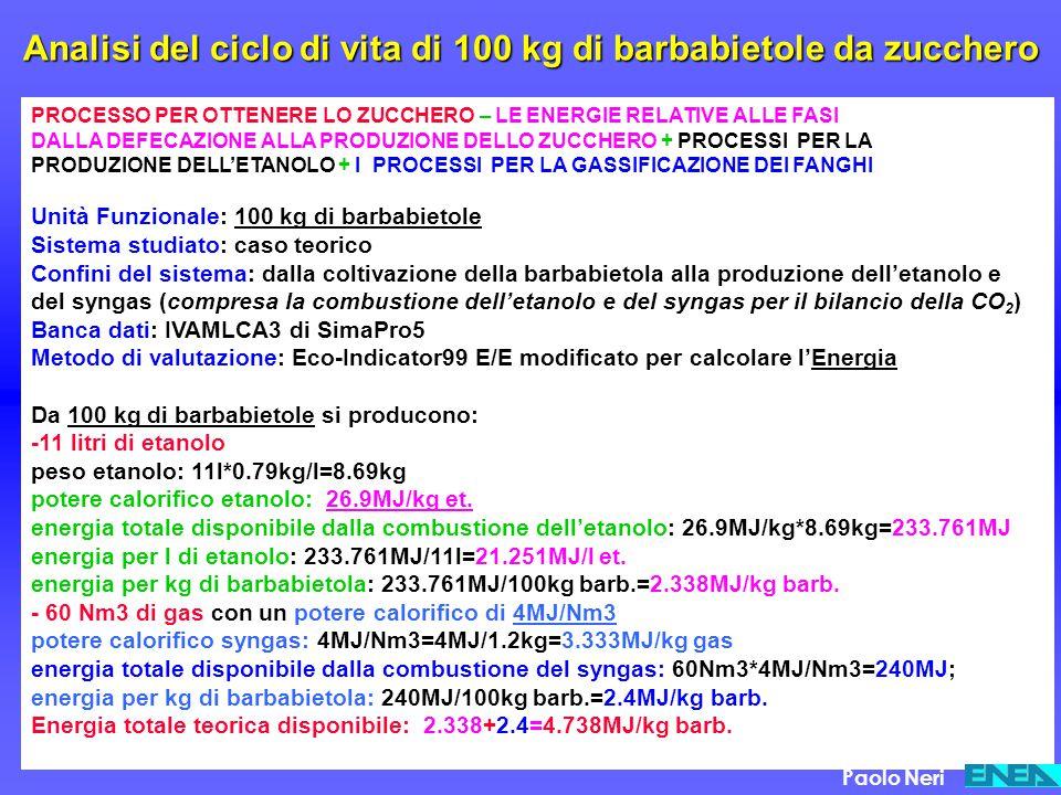 Analisi del ciclo di vita di 100 kg di barbabietole da zucchero PROCESSO PER OTTENERE LO ZUCCHERO – LE ENERGIE RELATIVE ALLE FASI DALLA DEFECAZIONE AL