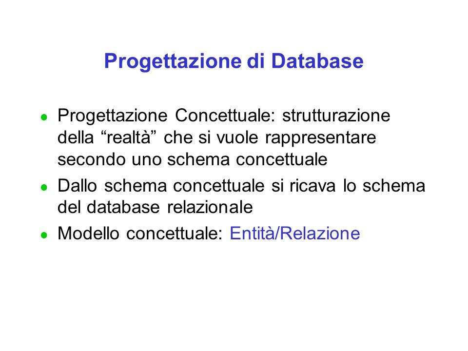Progettazione di Database l Progettazione Concettuale: strutturazione della realtà che si vuole rappresentare secondo uno schema concettuale l Dallo schema concettuale si ricava lo schema del database relazionale l Modello concettuale: Entità/Relazione