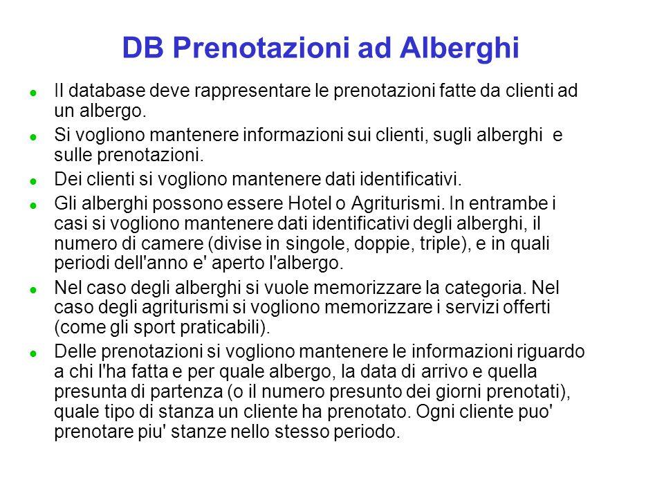 DB Prenotazioni ad Alberghi l Il database deve rappresentare le prenotazioni fatte da clienti ad un albergo. l Si vogliono mantenere informazioni sui