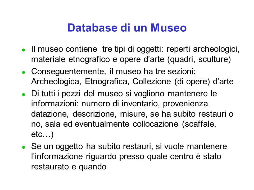 Database di un Museo l Il museo contiene tre tipi di oggetti: reperti archeologici, materiale etnografico e opere d'arte (quadri, sculture) l Consegue