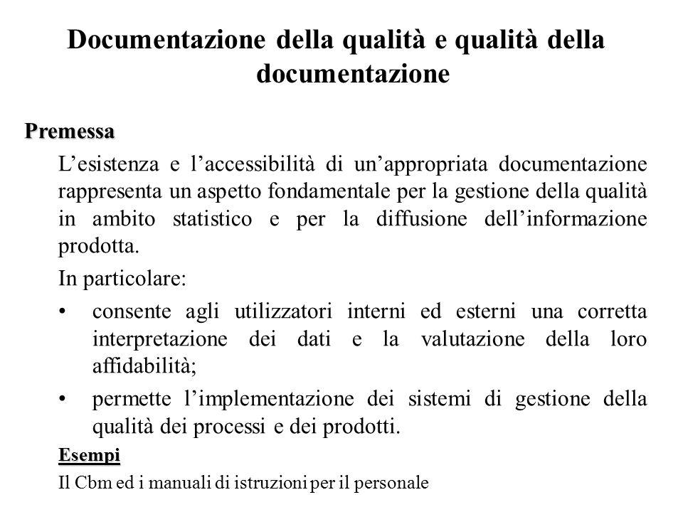Documentazione della qualità e qualità della documentazione Premessa L'esistenza e l'accessibilità di un'appropriata documentazione rappresenta un asp