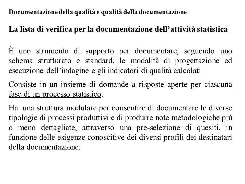La lista di verifica per la documentazione dell'attività statistica È uno strumento di supporto per documentare, seguendo uno schema strutturato e sta