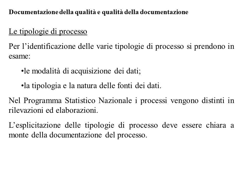 Le tipologie di processo Per l'identificazione delle varie tipologie di processo si prendono in esame: le modalità di acquisizione dei dati; la tipolo