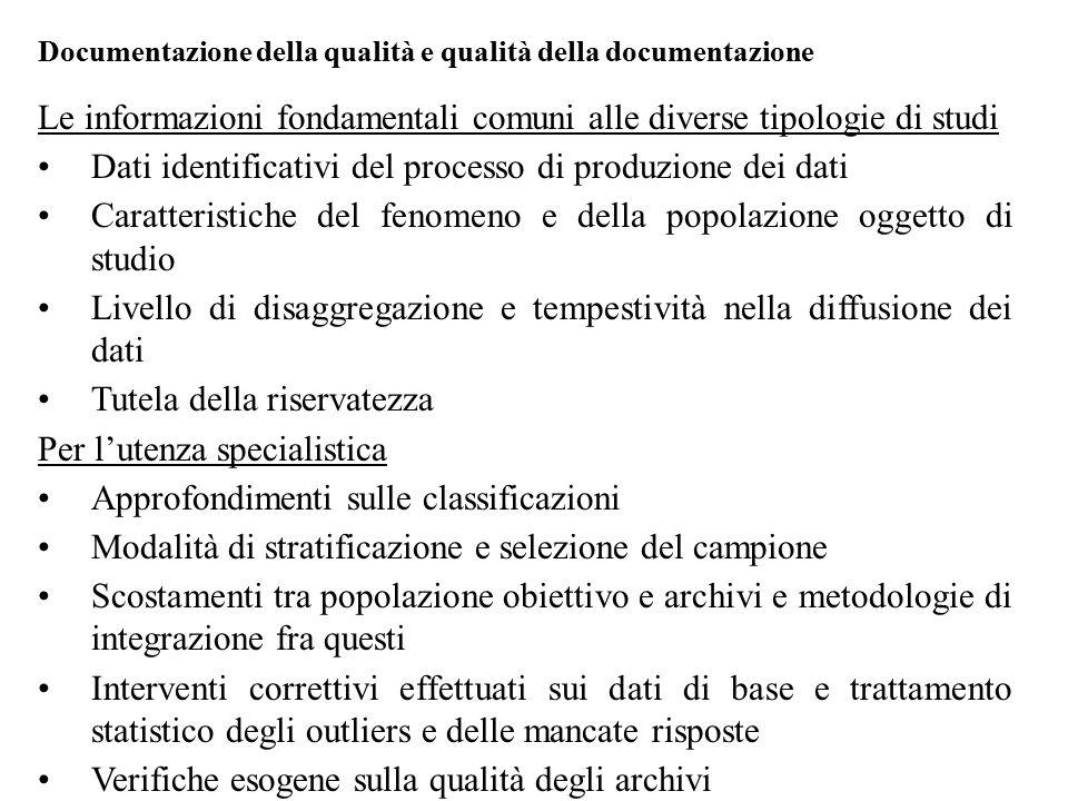 Le informazioni fondamentali comuni alle diverse tipologie di studi Dati identificativi del processo di produzione dei dati Caratteristiche del fenome