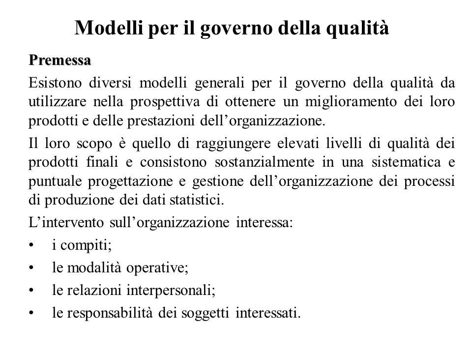 Modelli per il governo della qualità Premessa Esistono diversi modelli generali per il governo della qualità da utilizzare nella prospettiva di ottene