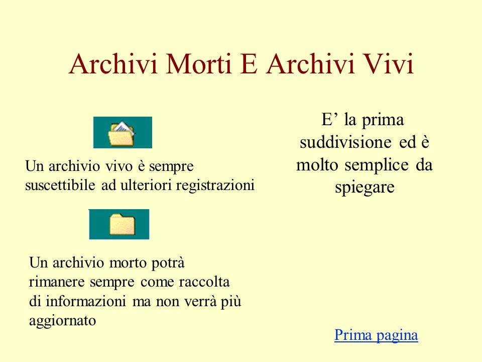 Gli Archivi Semplice presentazione e descrizione della loro struttura In questo numero: Archivi morti e archivi vivi Organizzazione: logica e fisica F