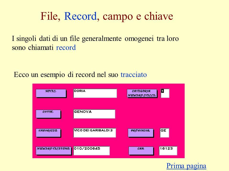 File, Record, campo e chiave I singoli dati di un file generalmente omogenei tra loro sono chiamati record Ecco un esempio di record nel suo tracciato Prima pagina