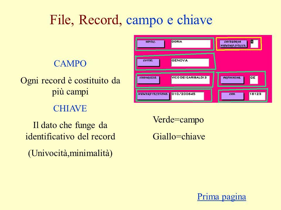 File, Record, campo e chiave Verde=campo Giallo=chiave CAMPO Ogni record è costituito da più campi CHIAVE Il dato che funge da identificativo del record (Univocità,minimalità) Prima pagina