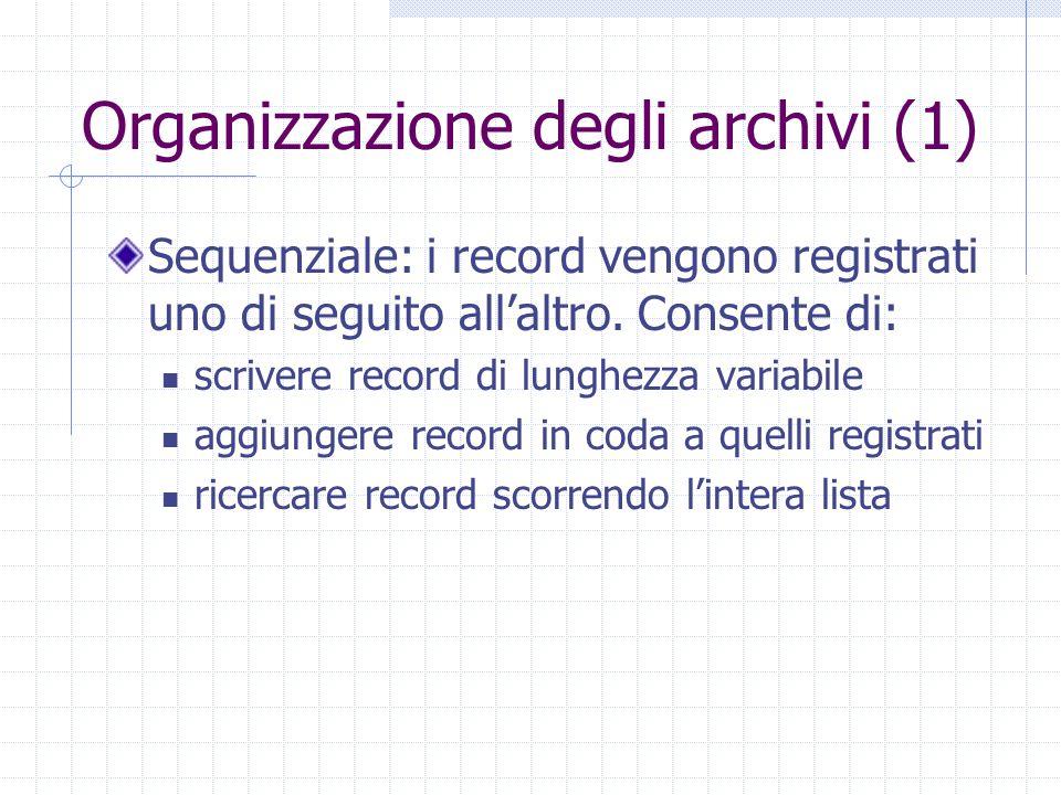 Organizzazione degli archivi (1) Sequenziale: i record vengono registrati uno di seguito all'altro. Consente di: scrivere record di lunghezza variabil