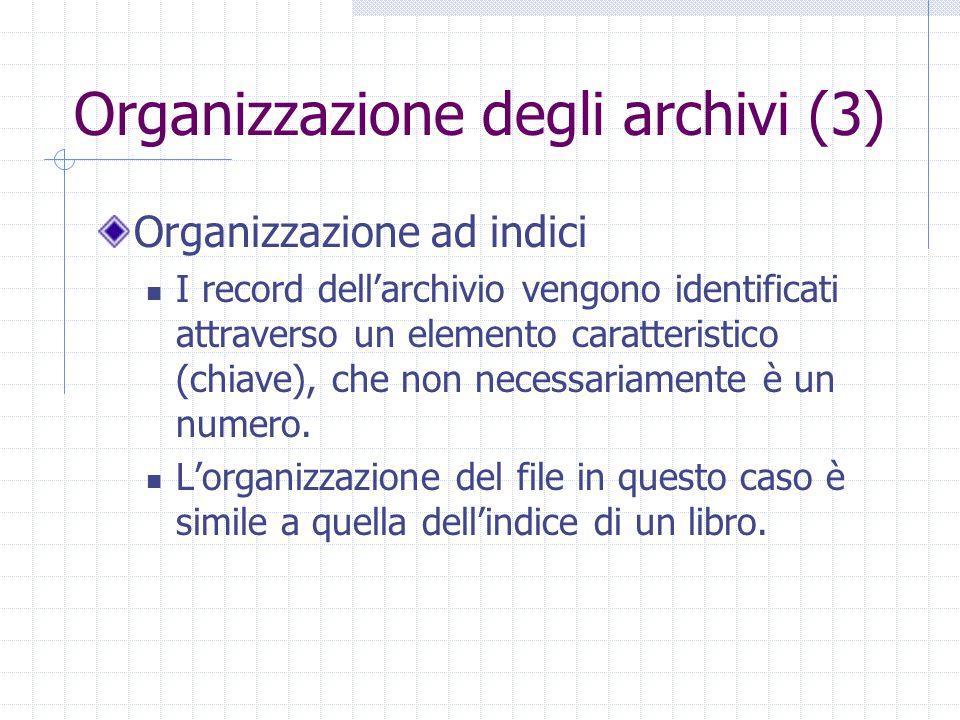 Organizzazione degli archivi (3) Organizzazione ad indici I record dell'archivio vengono identificati attraverso un elemento caratteristico (chiave),
