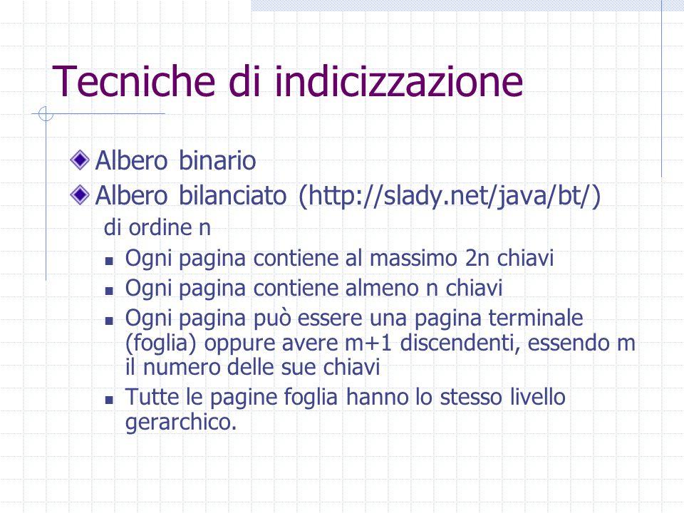 Tecniche di indicizzazione Albero binario Albero bilanciato (http://slady.net/java/bt/) di ordine n Ogni pagina contiene al massimo 2n chiavi Ogni pag