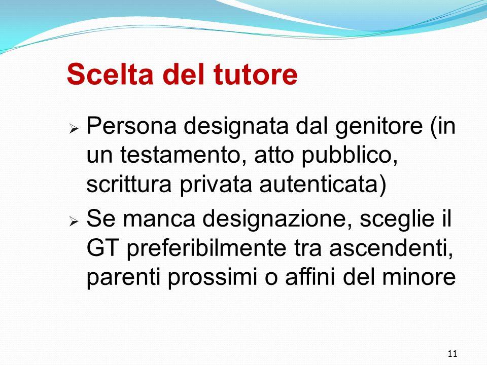 11 Scelta del tutore  Persona designata dal genitore (in un testamento, atto pubblico, scrittura privata autenticata)  Se manca designazione, scegl
