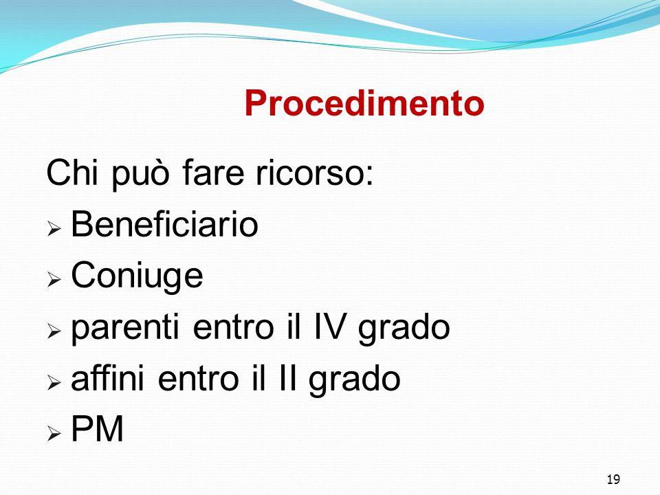 19 Procedimento Chi può fare ricorso:  Beneficiario  Coniuge  parenti entro il IV grado  affini entro il II grado  PM