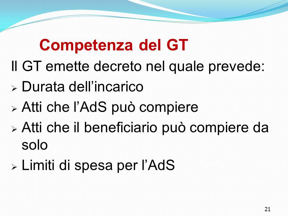 21 Competenza del GT Il GT emette decreto nel quale prevede:  Durata dell'incarico  Atti che l'AdS può compiere  Atti che il beneficiario può compiere da solo  Limiti di spesa per l'AdS