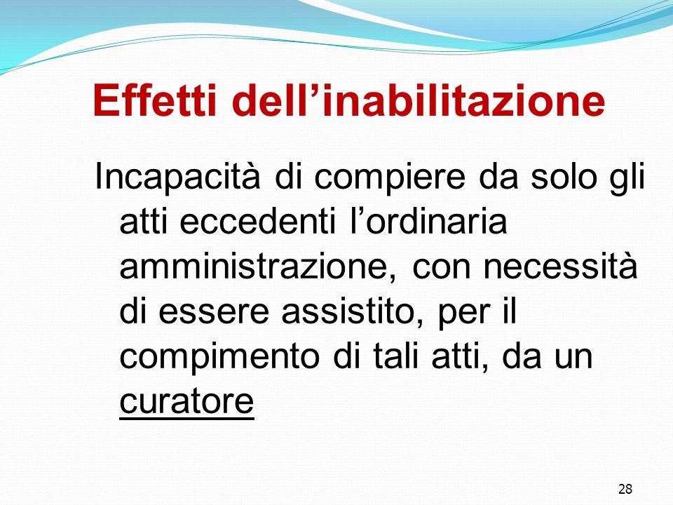 28 Effetti dell'inabilitazione Incapacità di compiere da solo gli atti eccedenti l'ordinaria amministrazione, con necessità di essere assistito, per i
