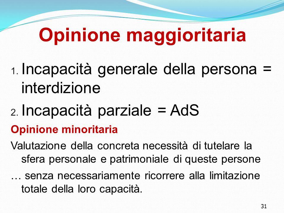 31 Opinione maggioritaria 1.Incapacità generale della persona = interdizione 2.