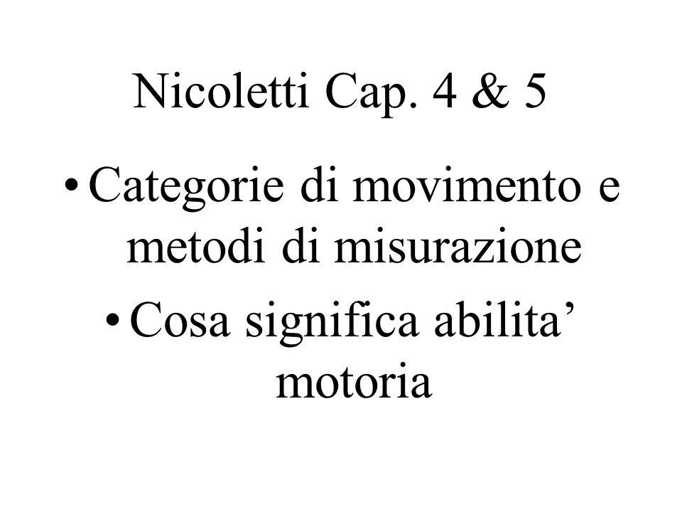 Nicoletti Cap. 4 & 5 Categorie di movimento e metodi di misurazione Cosa significa abilita' motoria
