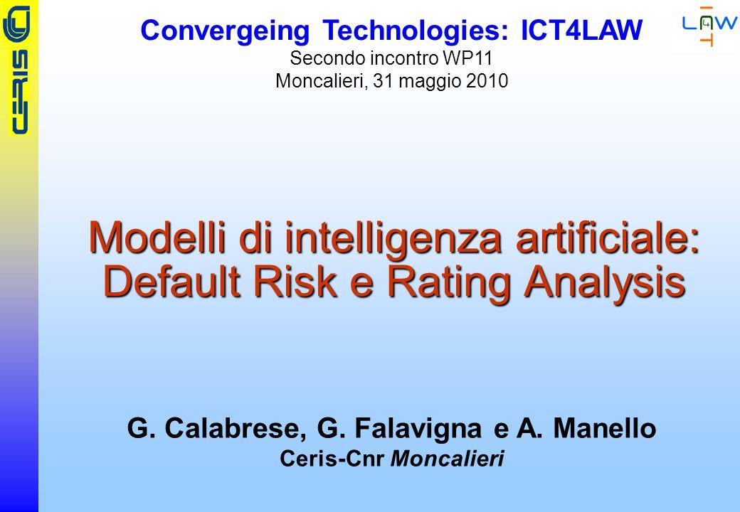 CERIS-CNR Modelli di intelligenza artificiale: Default Risk e Rating Analysis G.