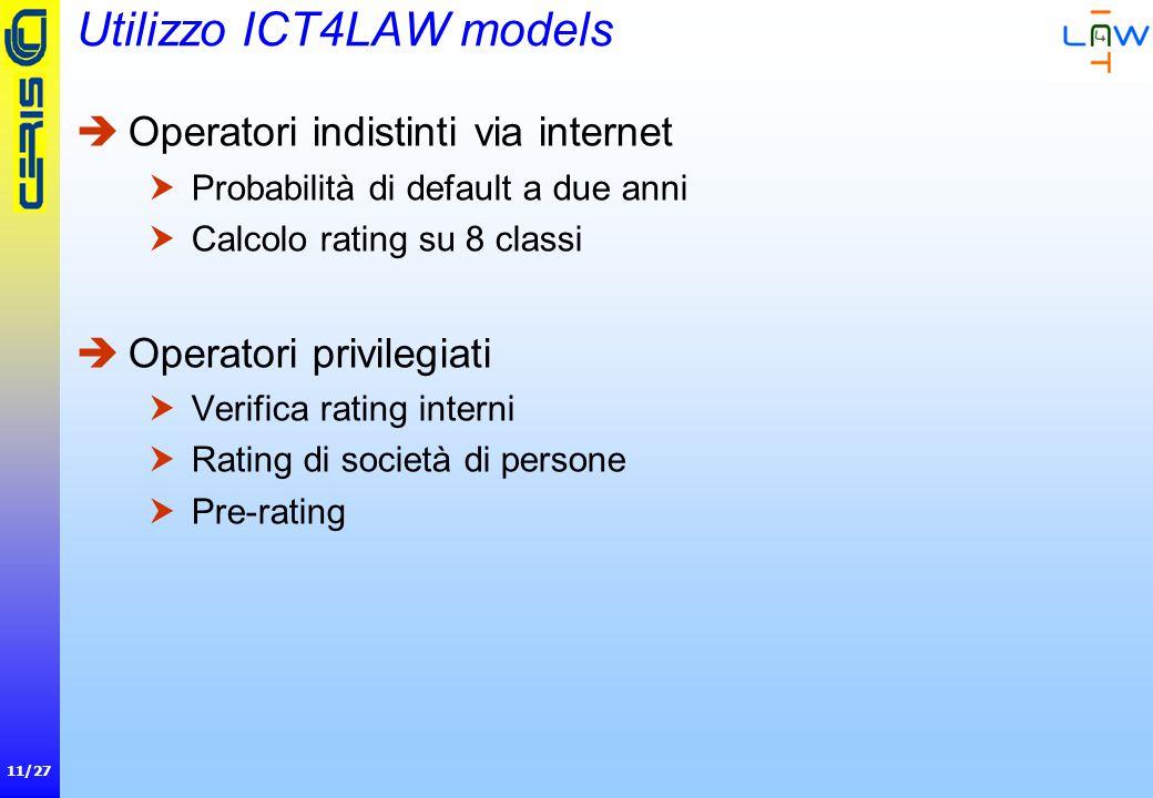 11/27 Utilizzo ICT4LAW models  Operatori indistinti via internet  Probabilità di default a due anni  Calcolo rating su 8 classi  Operatori privilegiati  Verifica rating interni  Rating di società di persone  Pre-rating