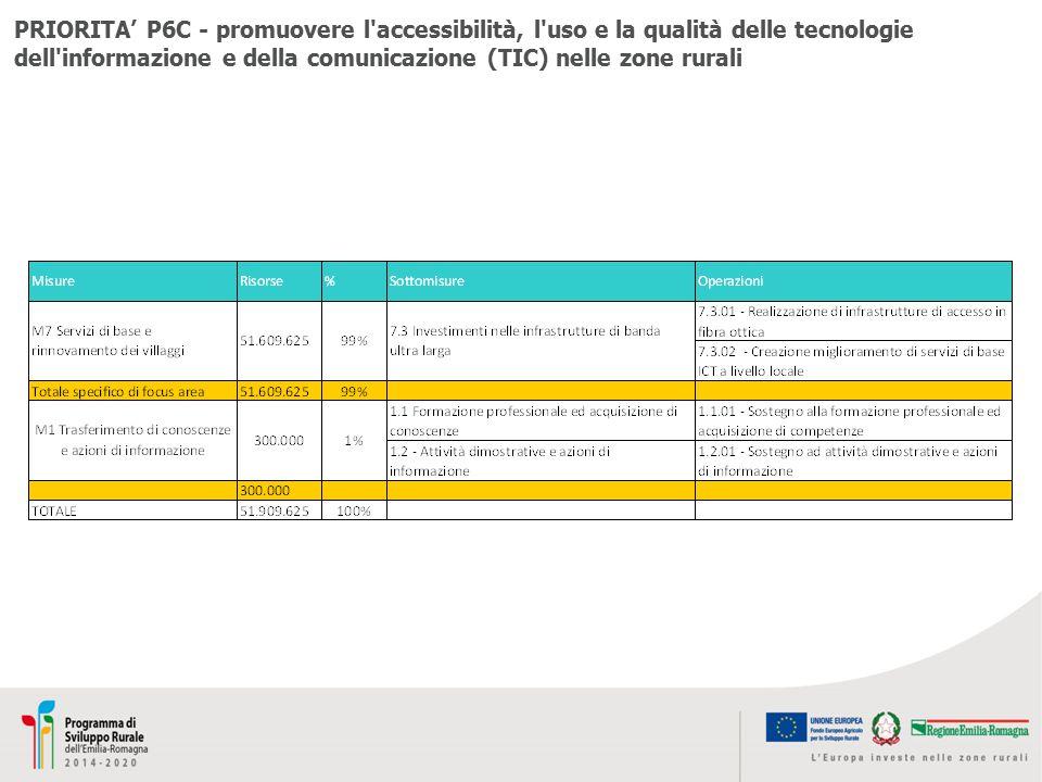 PRIORITA' P6C - promuovere l'accessibilità, l'uso e la qualità delle tecnologie dell'informazione e della comunicazione (TIC) nelle zone rurali