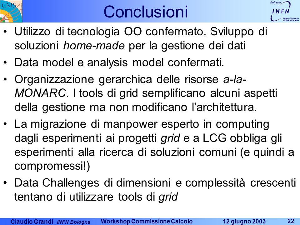 Claudio Grandi INFN Bologna 12 giugno 2003 Workshop Commissione Calcolo 22 Conclusioni Utilizzo di tecnologia OO confermato. Sviluppo di soluzioni hom