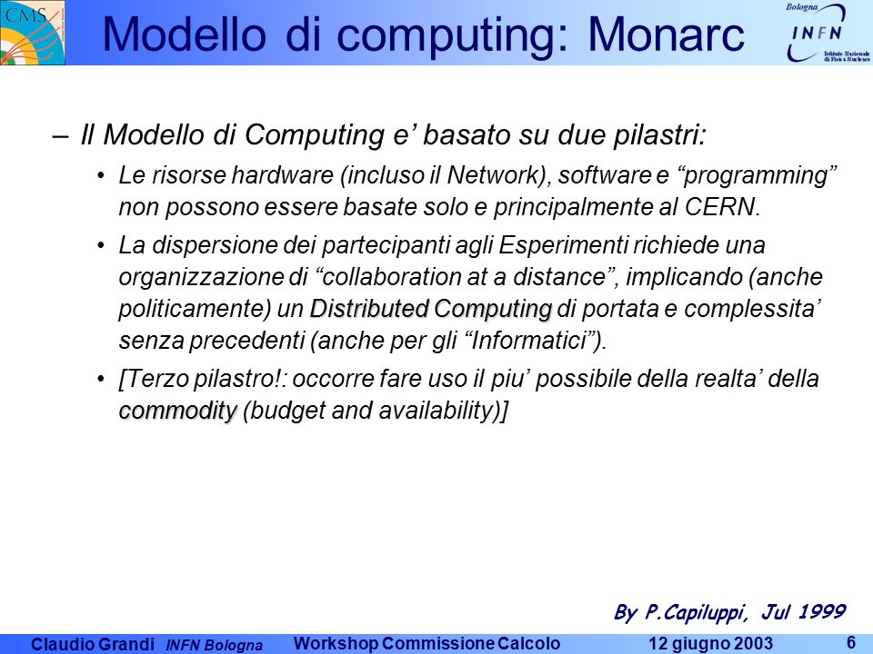 Claudio Grandi INFN Bologna 12 giugno 2003 Workshop Commissione Calcolo 17 LHC Computing Grid Project The job of the LHC Computing Grid Project – LCG – is to prepare the computing infrastructure for the simulation, processing and analysis of LHC data for all four of the LHC collaborations.